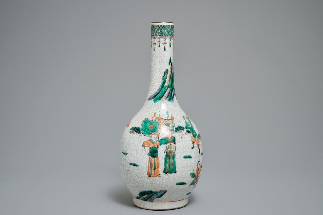 A Chinese famille verte crackle ware bottle vase,