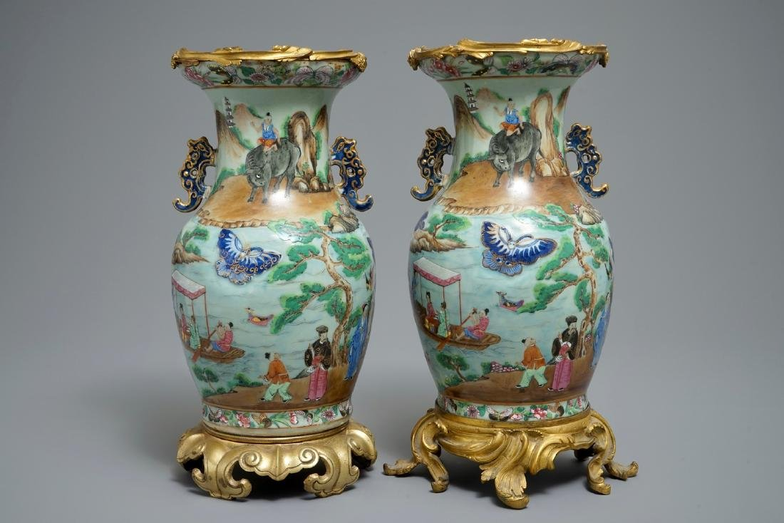A pair of Chinese gilt-bronze mounted famille rose