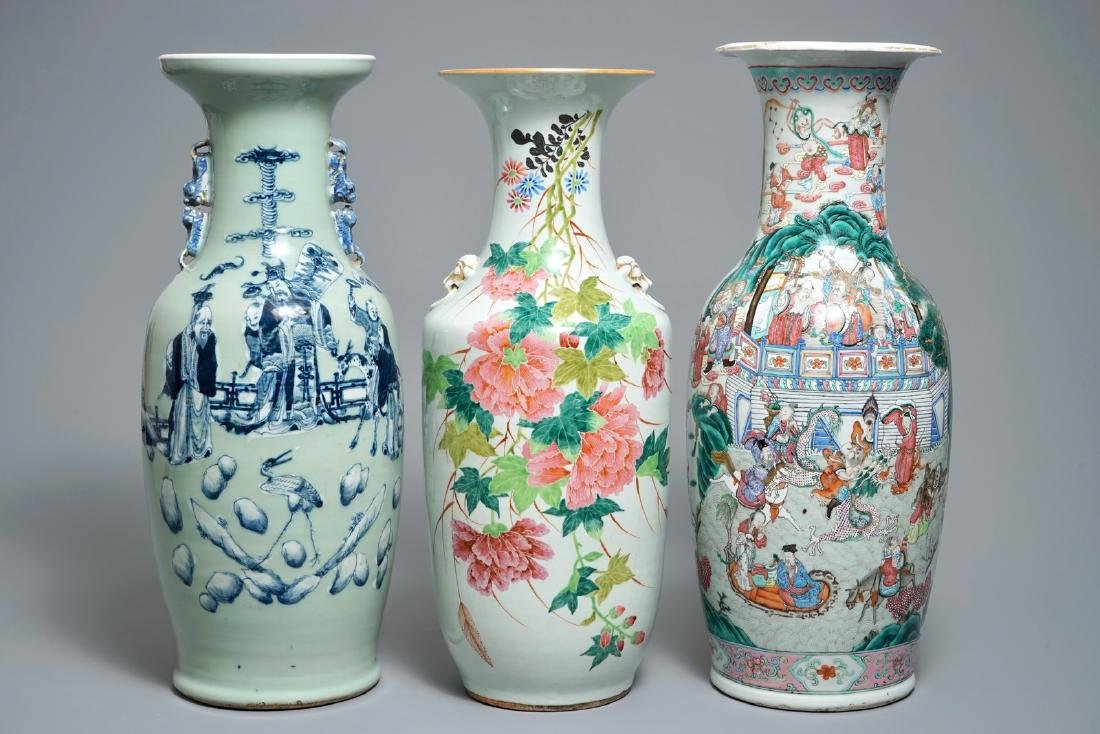 Three tall Chinese famille rose and celadon-ground