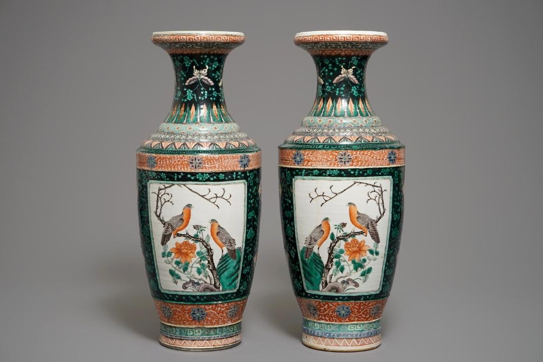 A pair of Chinese verte-noire vases with birds, 19th C.