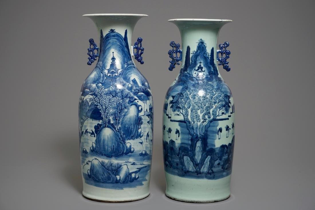 Two Chinese blue and white celadon-ground landscape