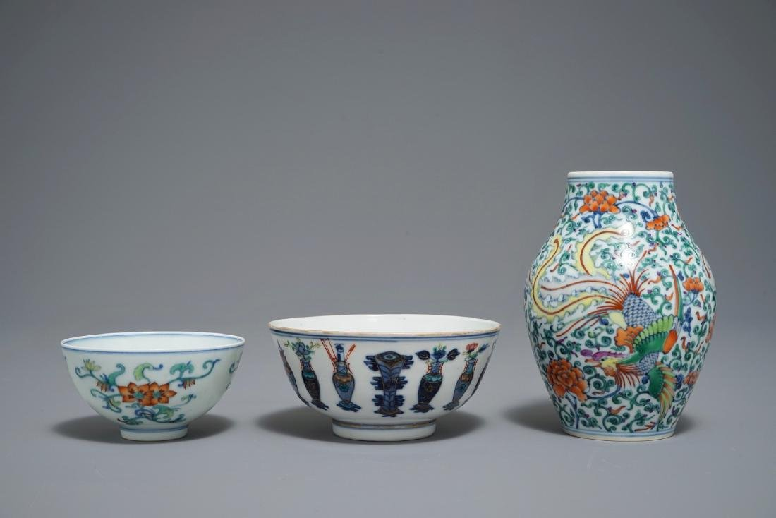 Two Chinese doucai bowls and a vase, Yongzheng and