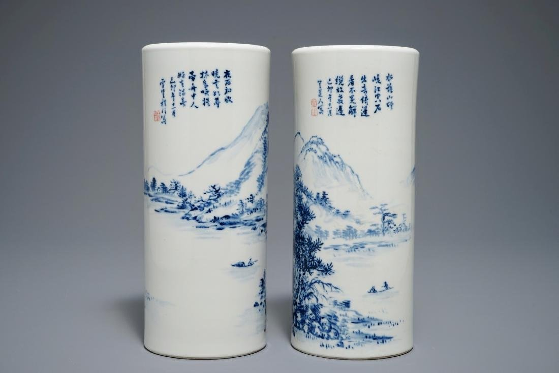 A pair of Chinese blue and white hat stands, 20th C.