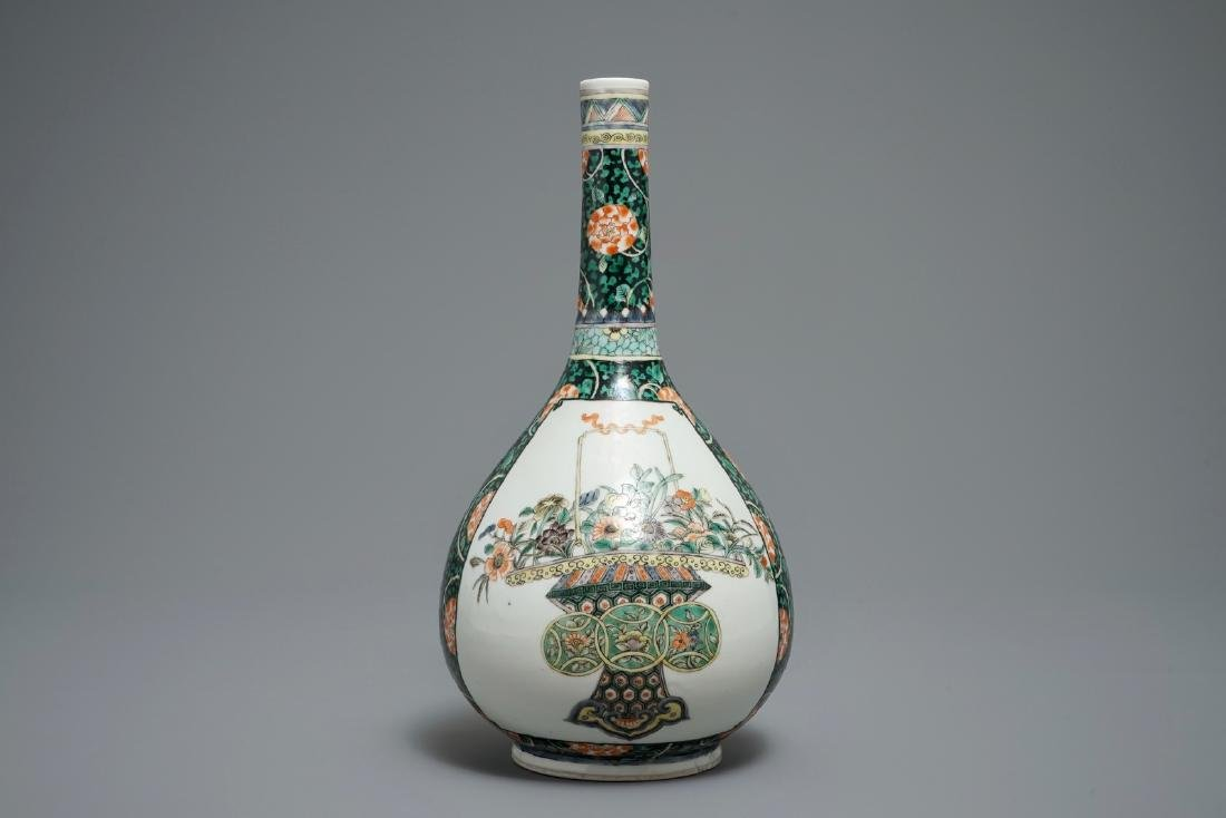 A Chinese famille verte bottle vase with fine flower