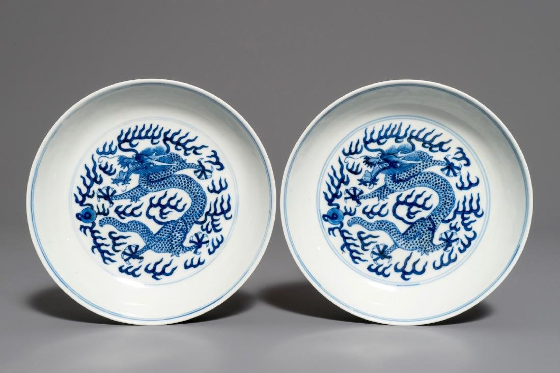 A pair of blue and white dragon plates, Guangxu mark
