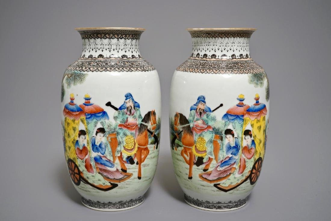 A pair of fine Chinese famille rose egshell vases,