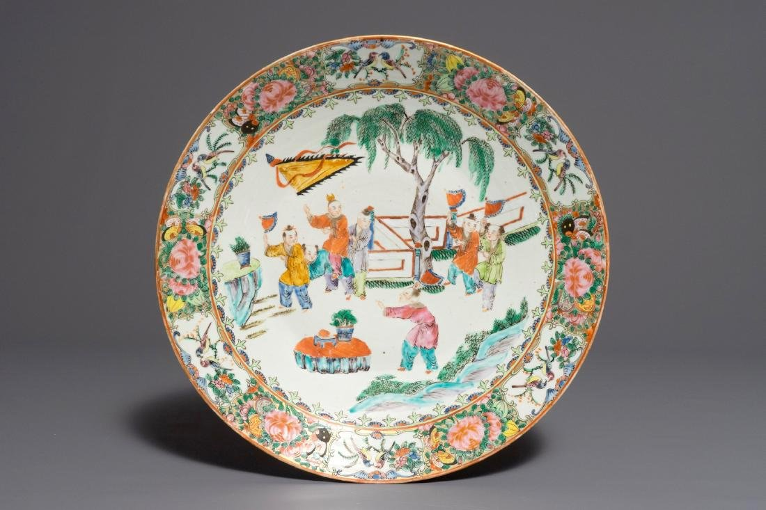 A large Chinese Canton famille rose charger, 19th C.