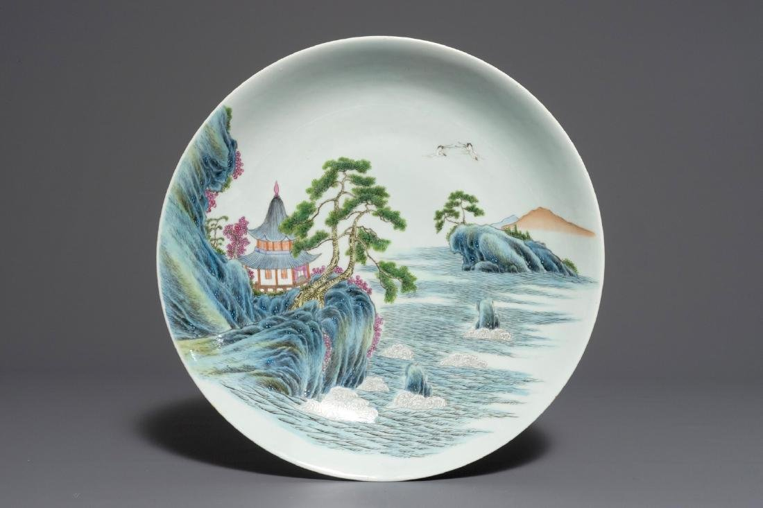 A large Chinese famille rose landscape dish, Qianlong
