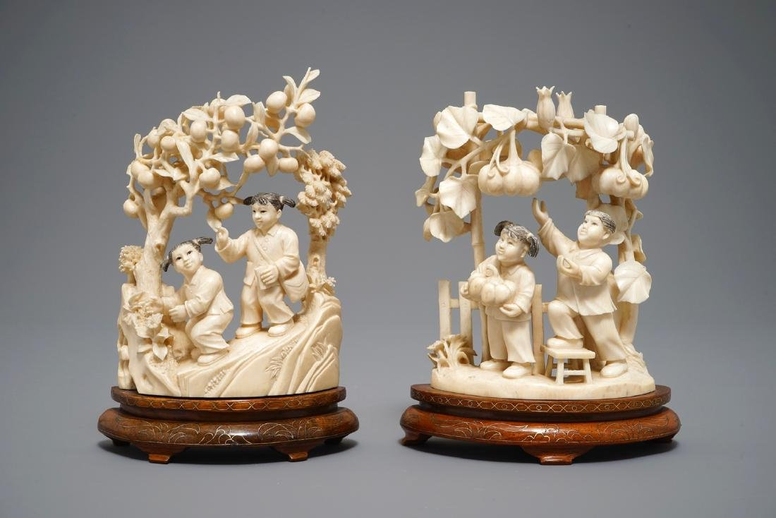 Two Chinese carved  groups of harvesting children, 1st