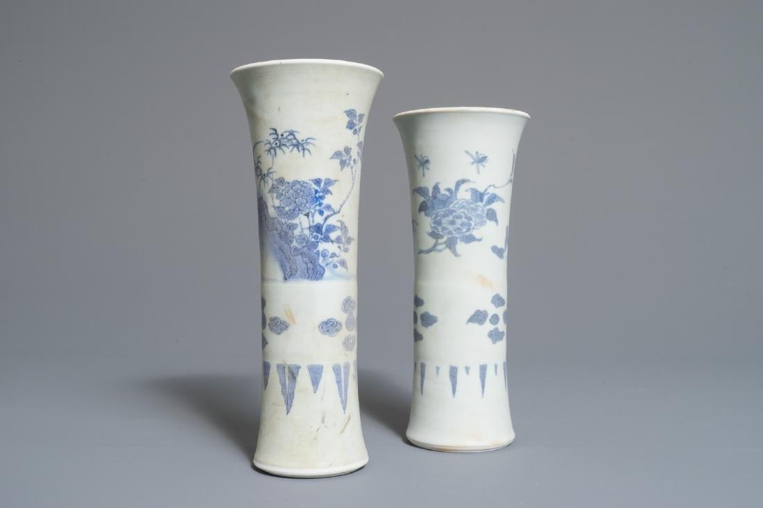 Two Chinese blue and white trumpet-shaped vases with