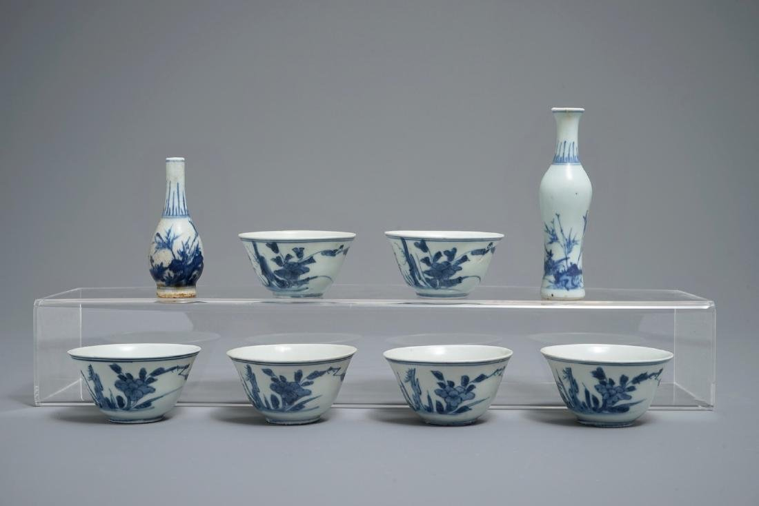 Two Chinese blue and white vases and six tea bowls,