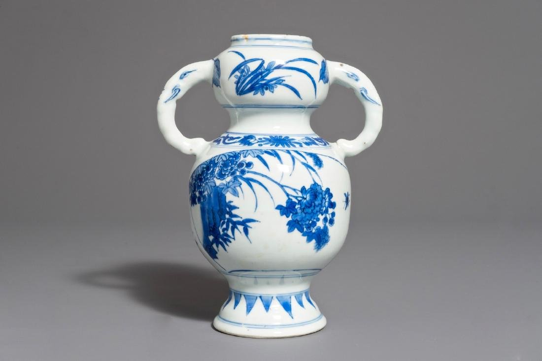A Chinese blue and white elephant handle vase,
