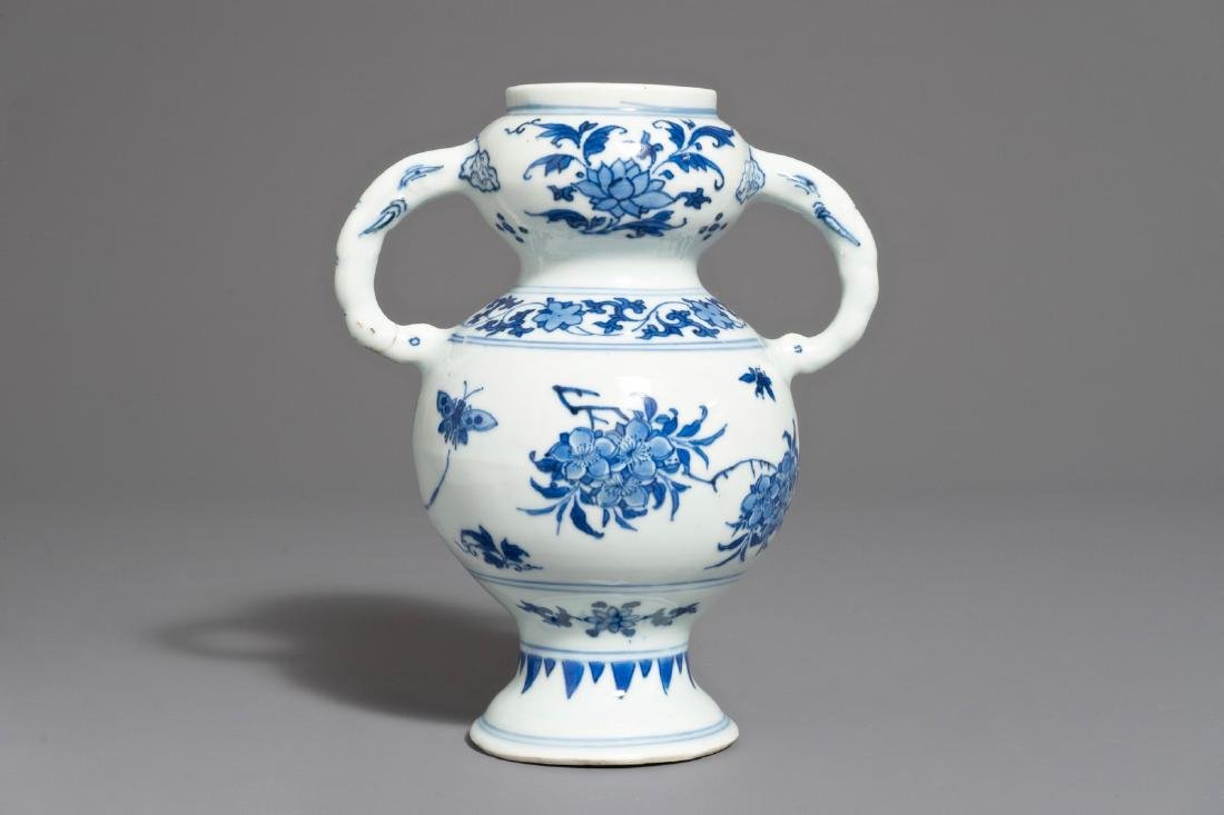 A Chinese blue and white elephant handle vase,