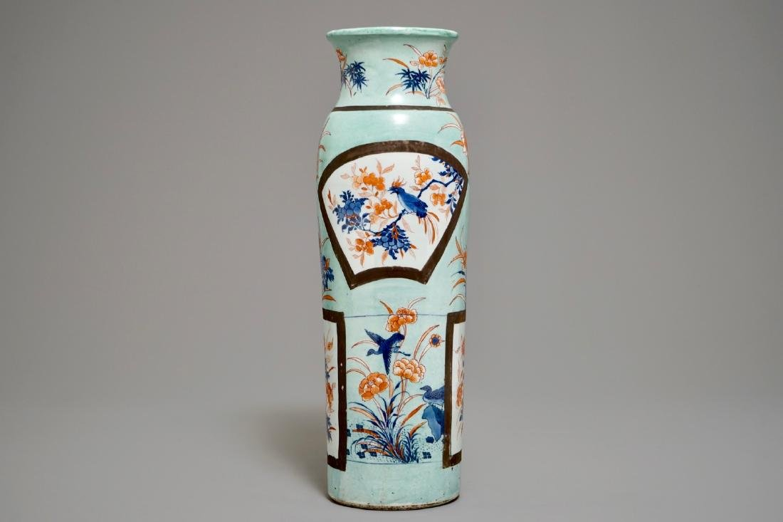 A European-decorated Chinese rouleau vase, Transitional