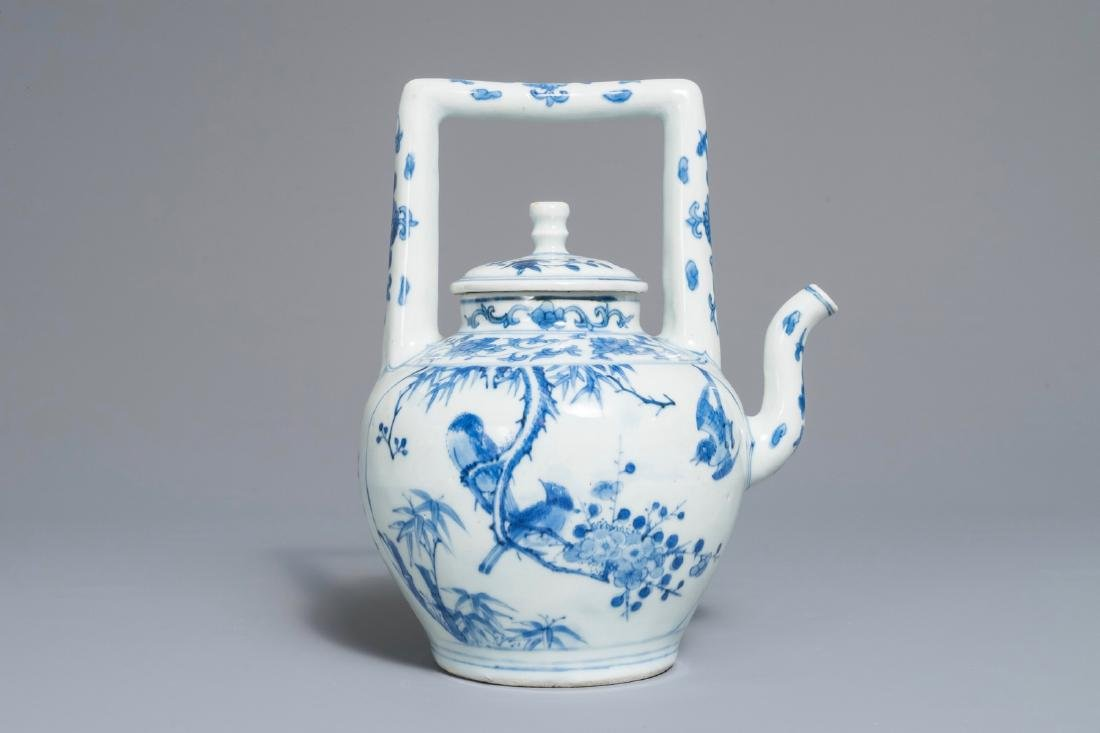 A Chinese blue and white wine jug and cover with fine