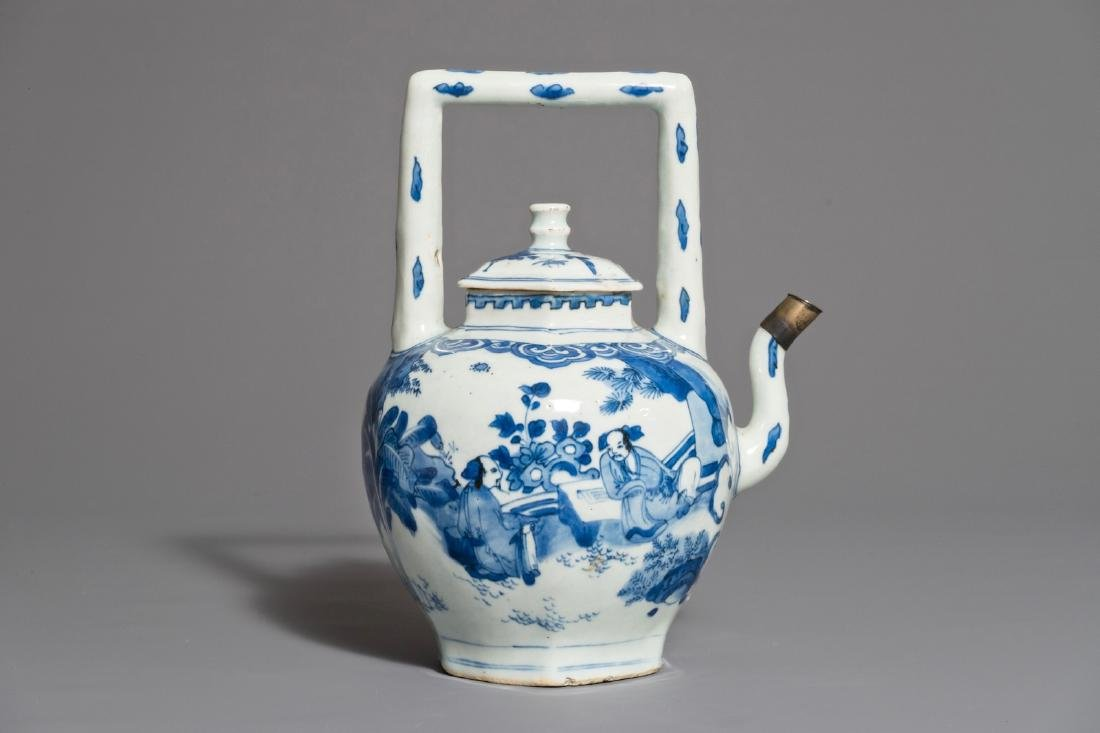 A Chinese blue and white wine jug and cover with