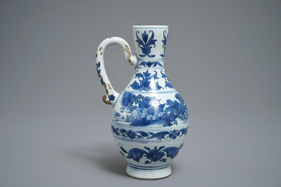 A Chinese blue and white landscape jug, Transitional