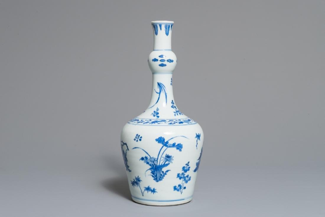 A Chinese blue and white garlic-head bottle vase,