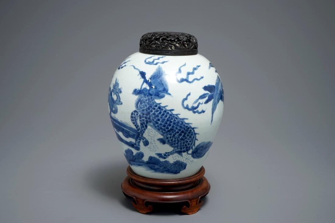 A Chinese blue and white 'qilin' jar, Transitional