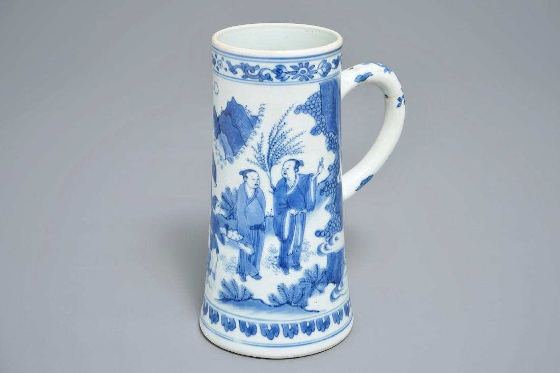 A Chinese blue and white tankard, Transitional period