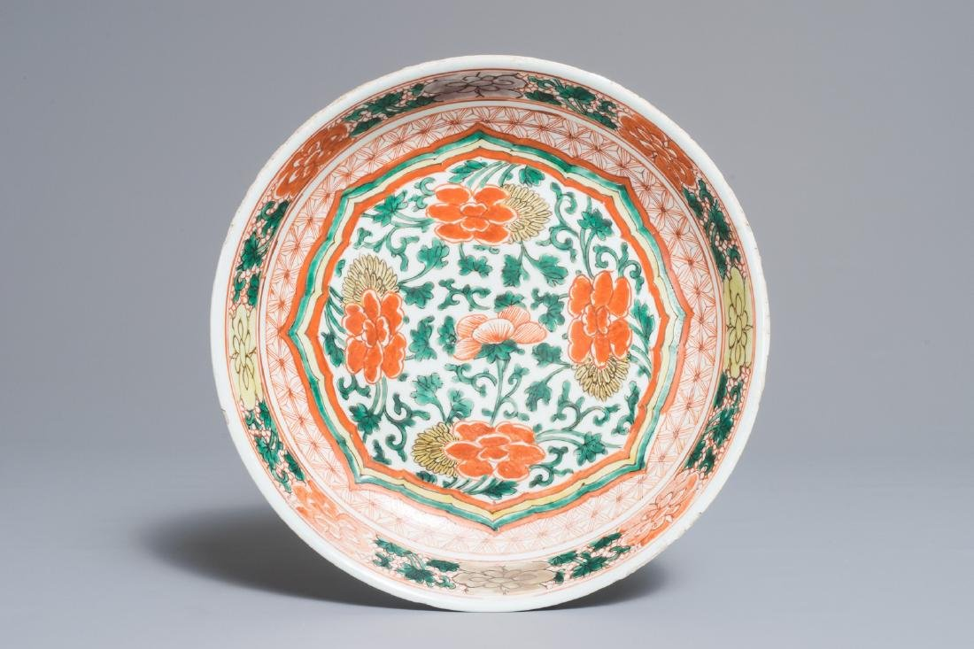 A Chinese wucai dish with floral design, Kangxi