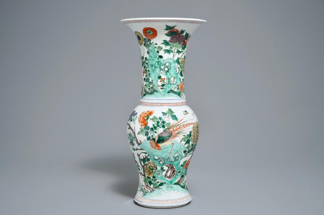 A Chinese famille verte yenyen vase with birds and