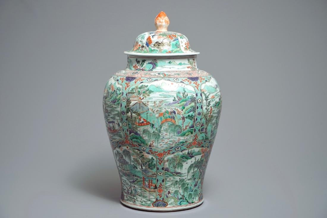 A large Chinese famille verte vase and cover with