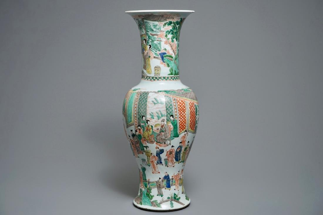 A large Chinese famille verte phoenix-tail vase with