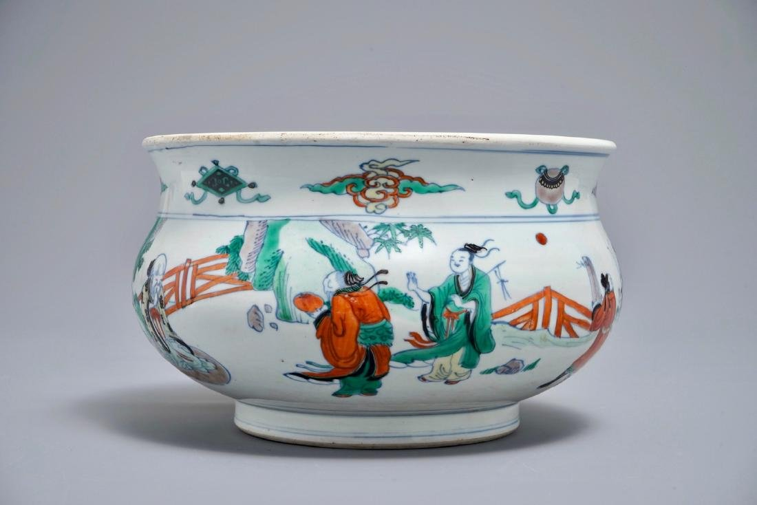 A Chinese doucai censer with figures in a landscape,