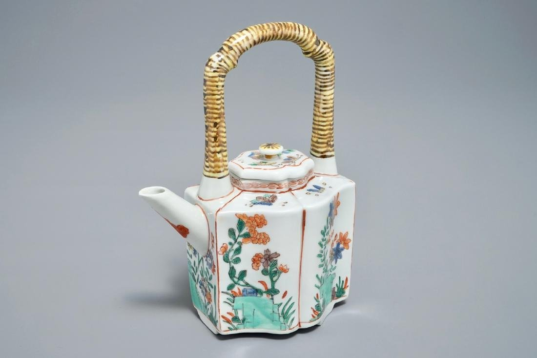 A Chinese famille verte teapot and cover, Kangxi