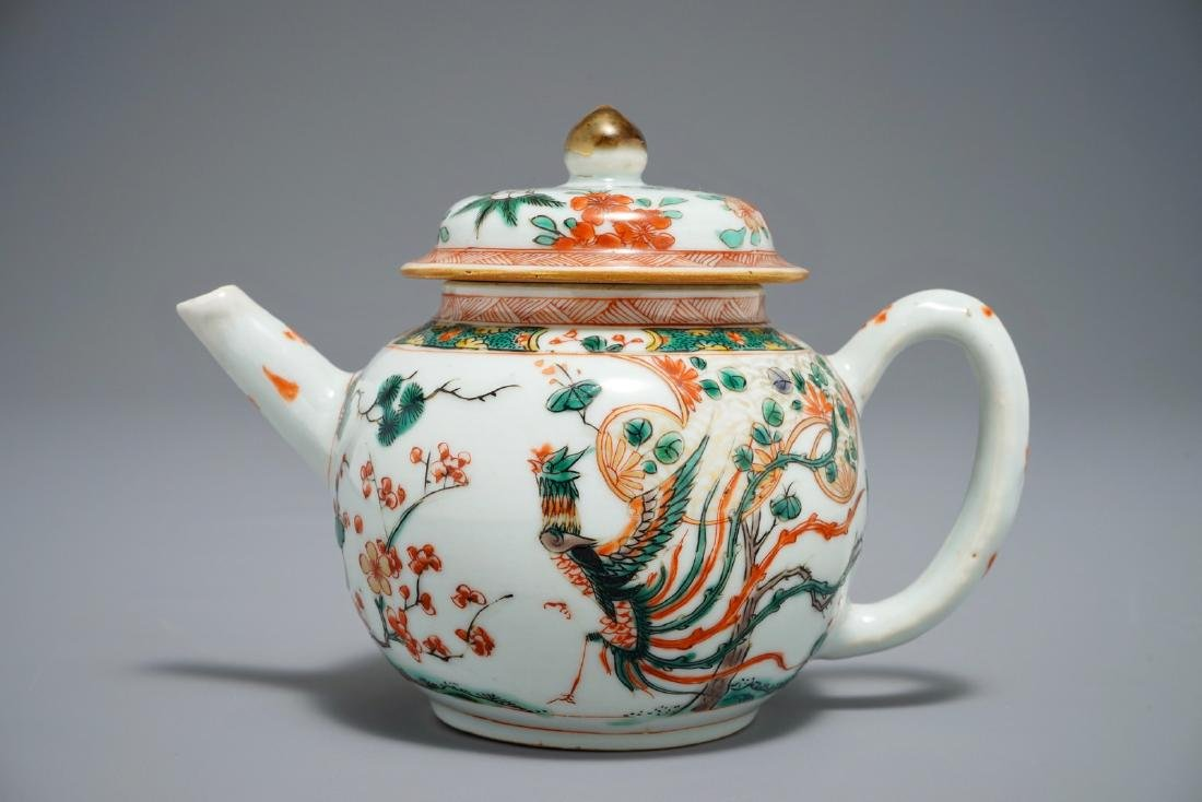 A Chinese famille verte 'Phoenix' teapot and cover,