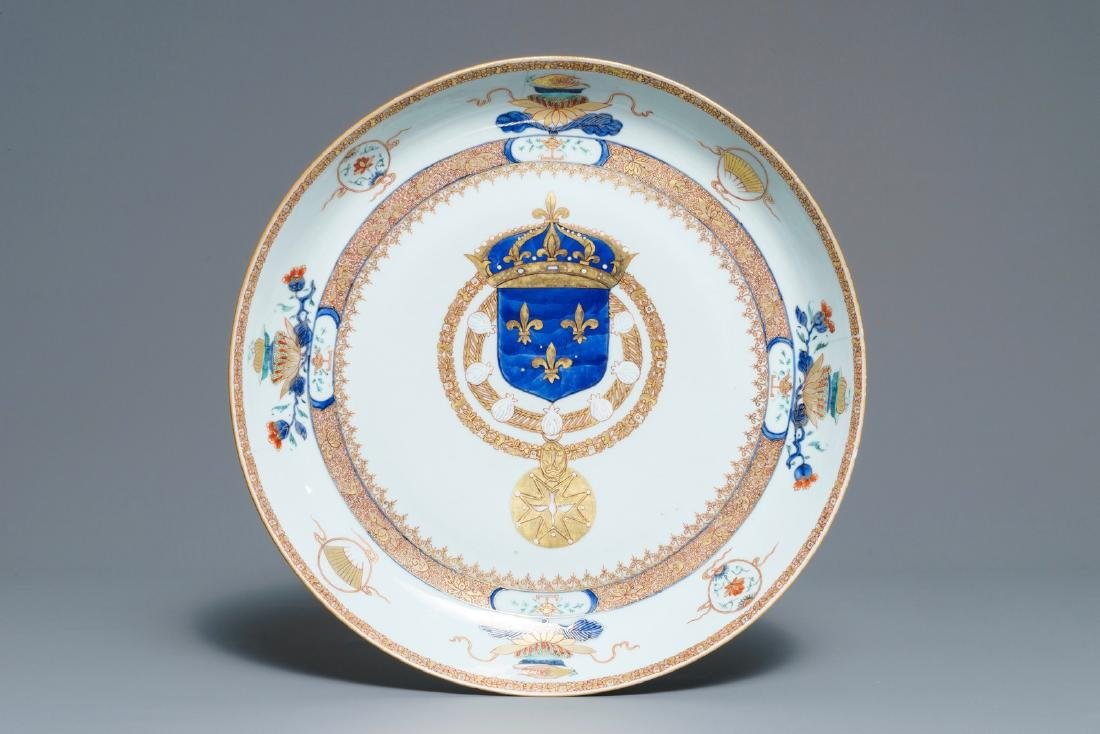 A large Chinese armorial dish with French Royal coat of