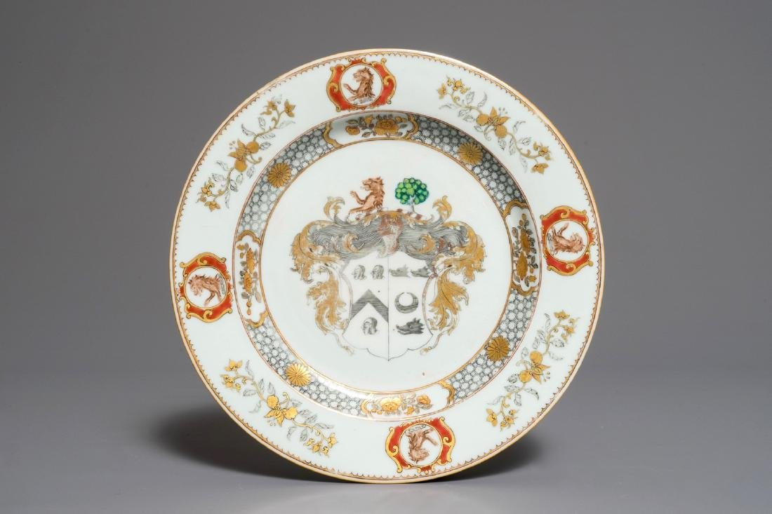 A Chinese armorial Scottish market dish, More impaling