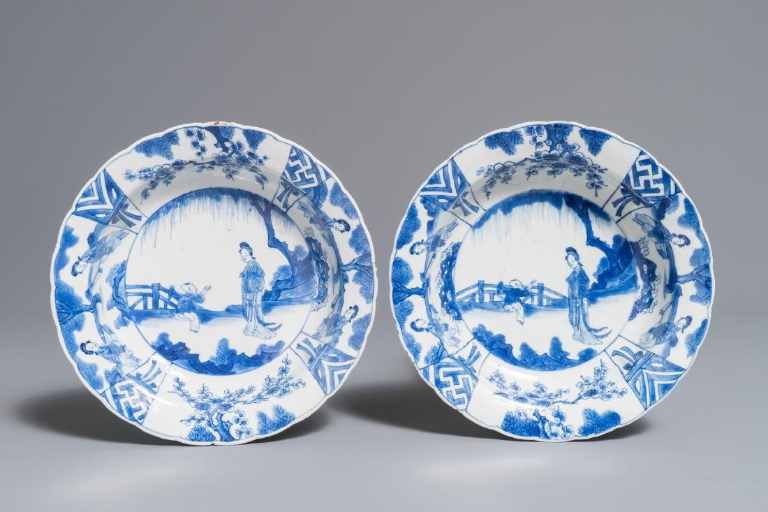 A pair of Chinese blue and white deep plates with Long