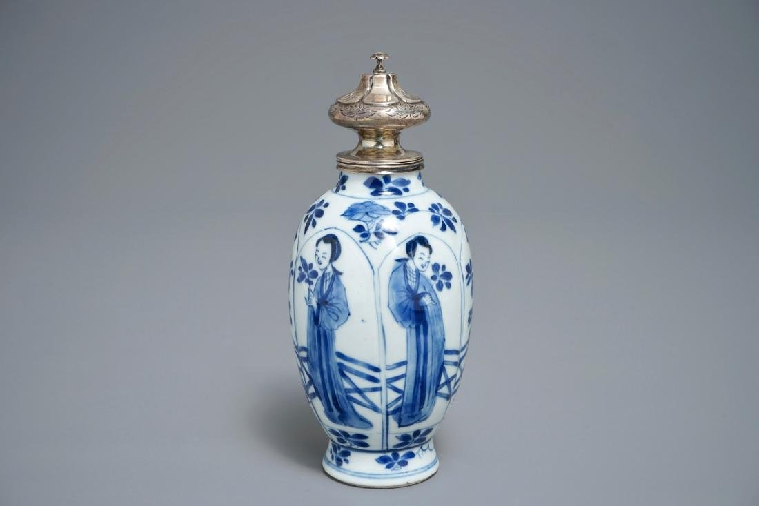 A Chinese blue and white silver-mounted tea caddy,