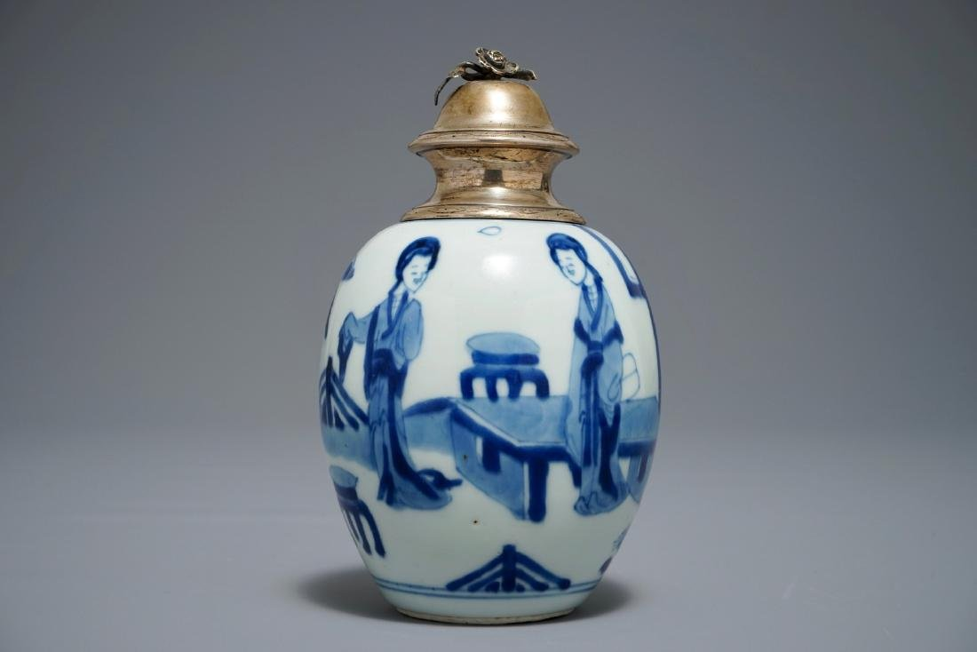 A Chinese blue and white silver-mounted tea caddy with
