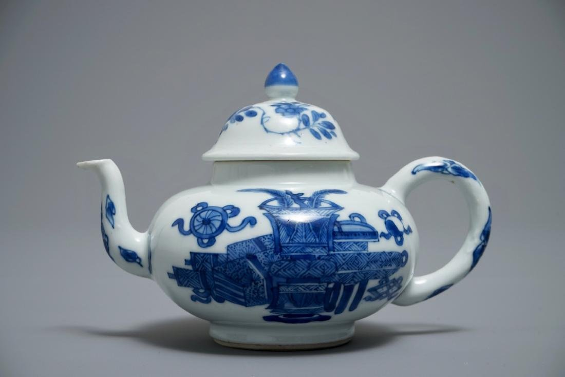 A Chinese blue and white teapot and cover with