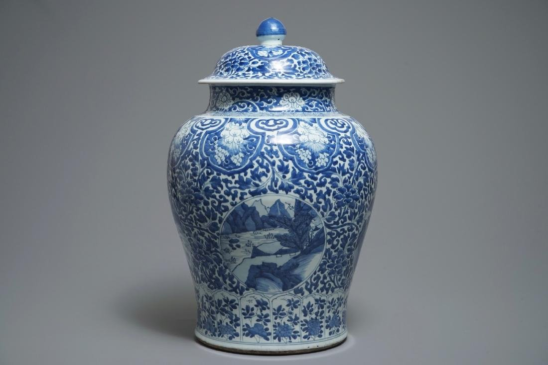 A large Chinese blue and white vase and cover with