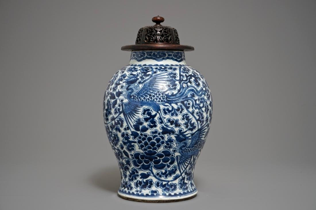 "A Chinese blue and white ""Phoenix"" vase, Kangxi"