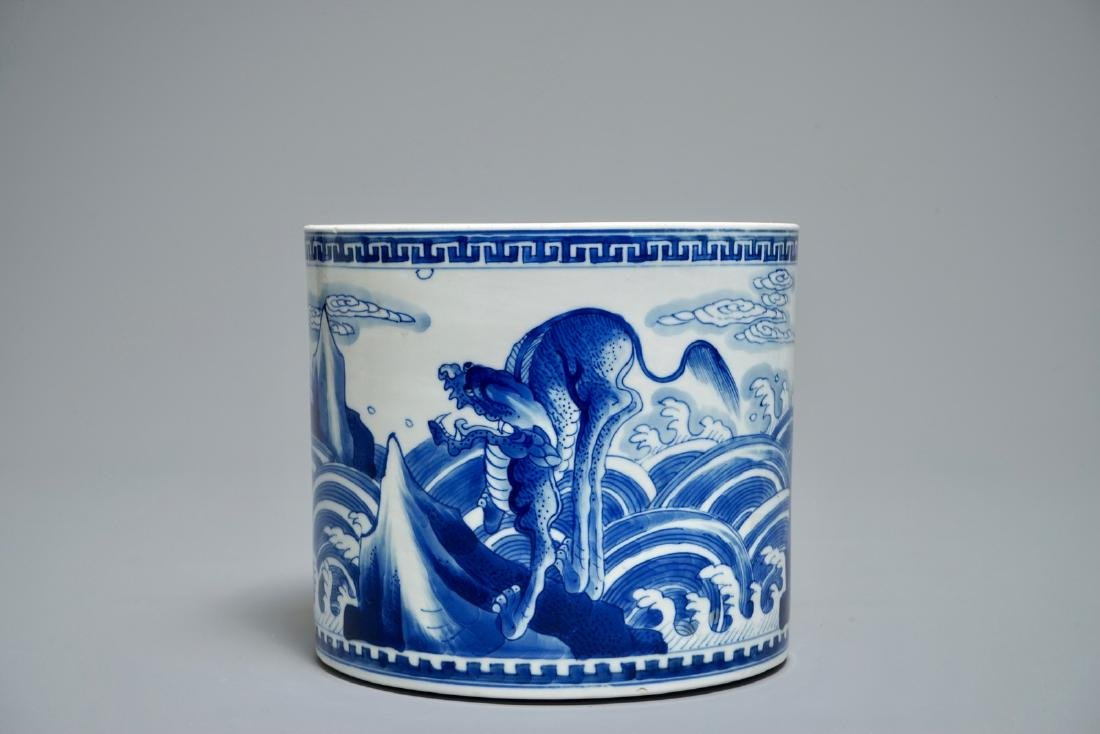 A Chinese blue and white cylindrical brush pot or