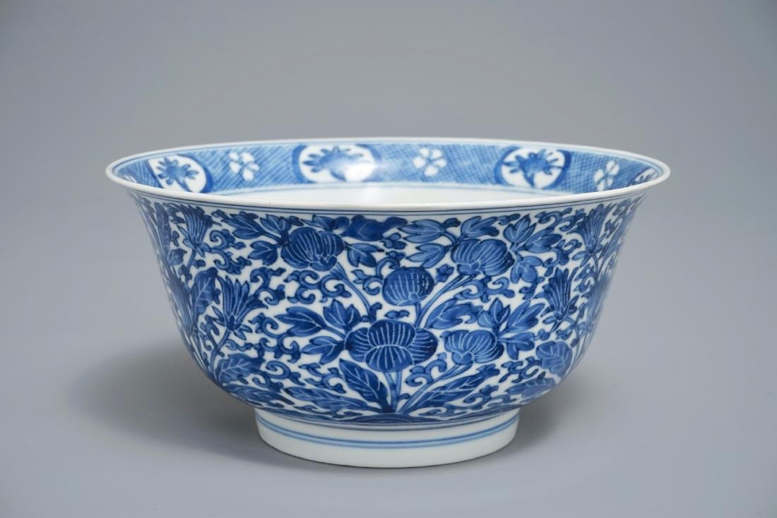 A Chinese blue and white bowl with floral design,