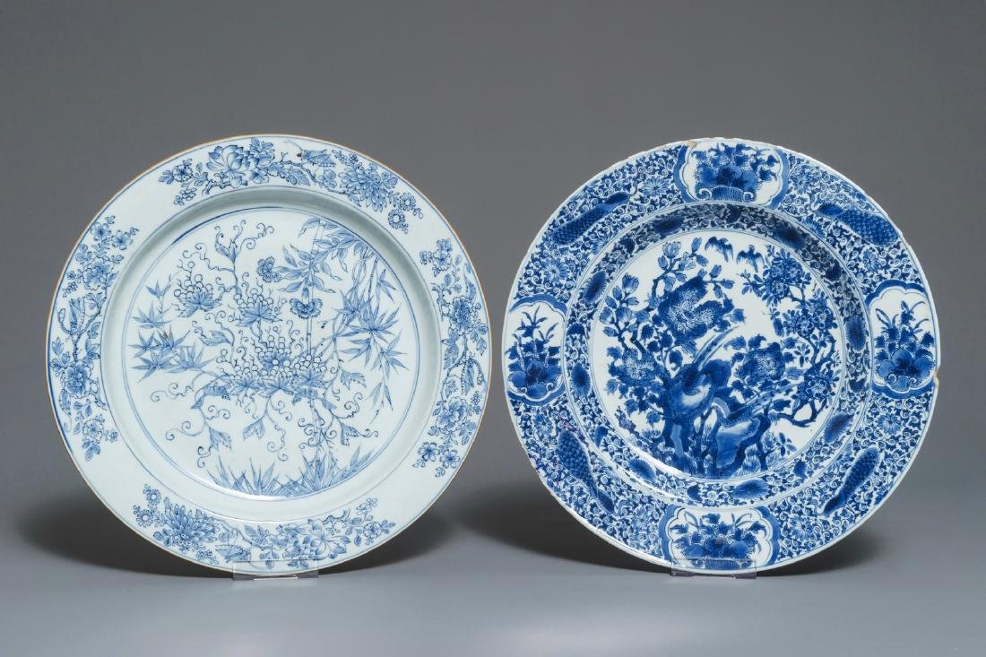 Two Chinese blue and white chargers with floral design,