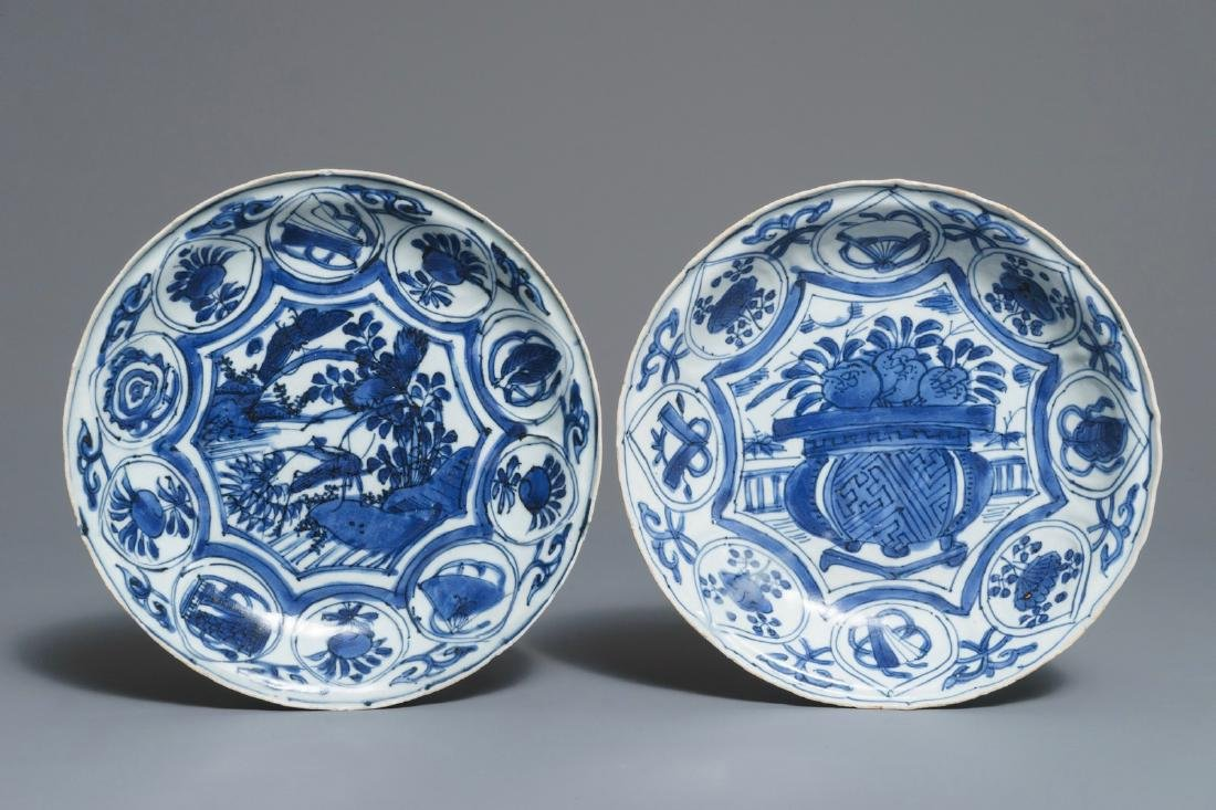 Two Chinese blue and white kraak porcelain plates,