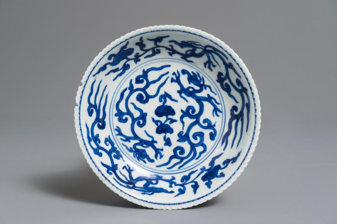 A Chinese blue and white dragon saucer, Jiajing mark