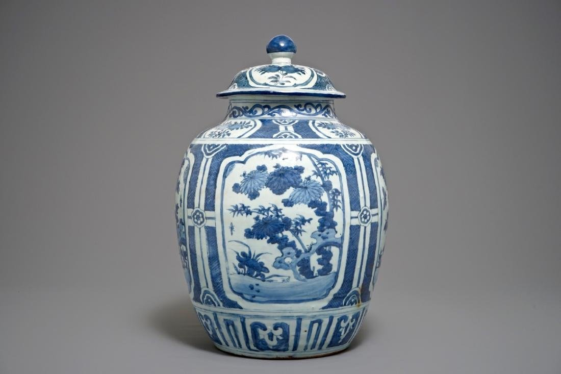 A large Chinese blue and white baluster vase and cover,