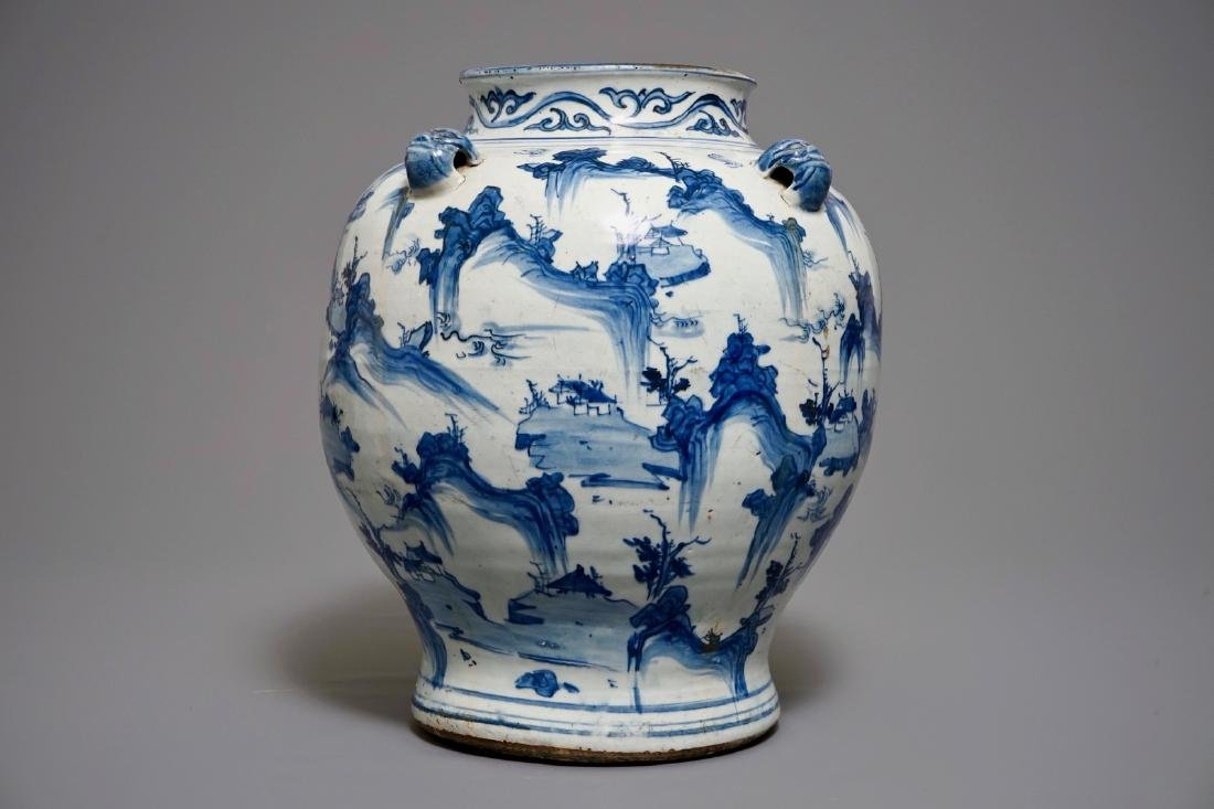 A large Chinese blue and white baluster vase with