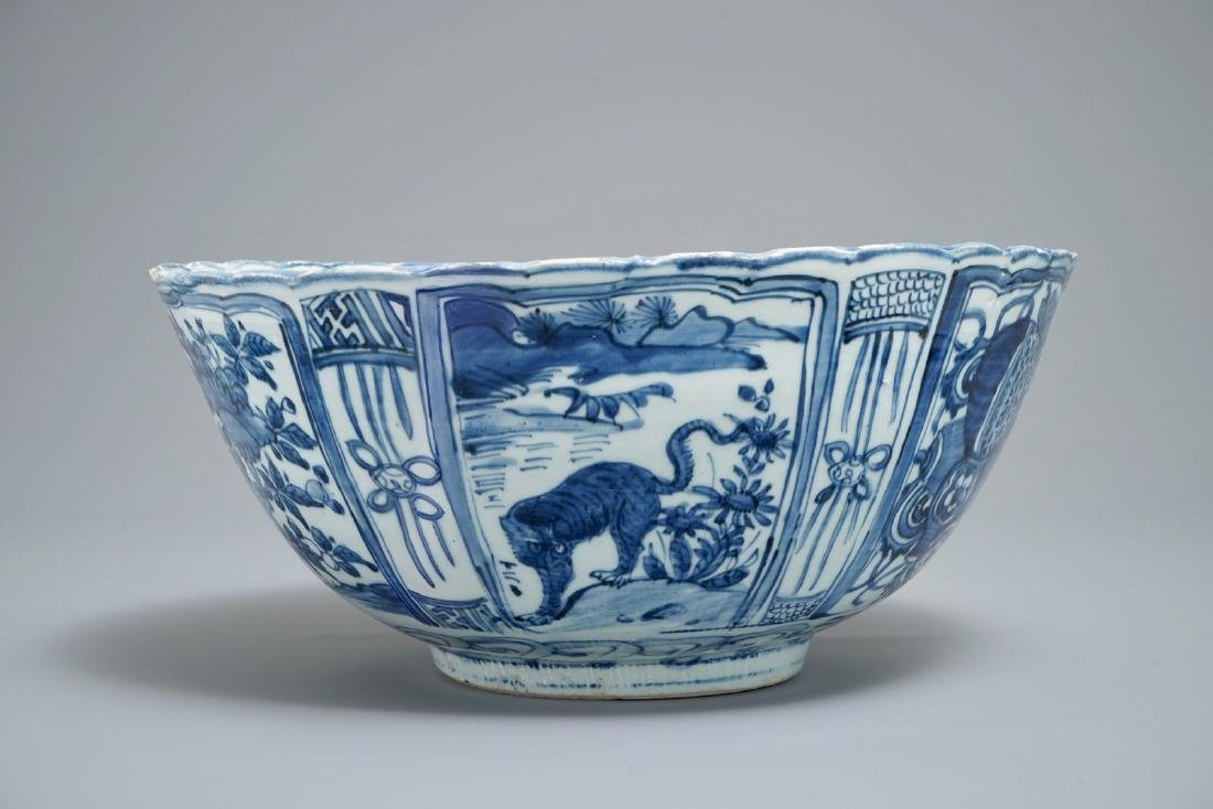 A large Chinese blue and white kraak porcelain bowl