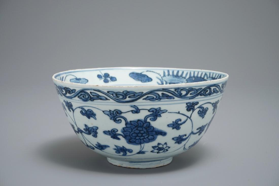 A Chinese blue and white lotus scroll bowl, Jiajing