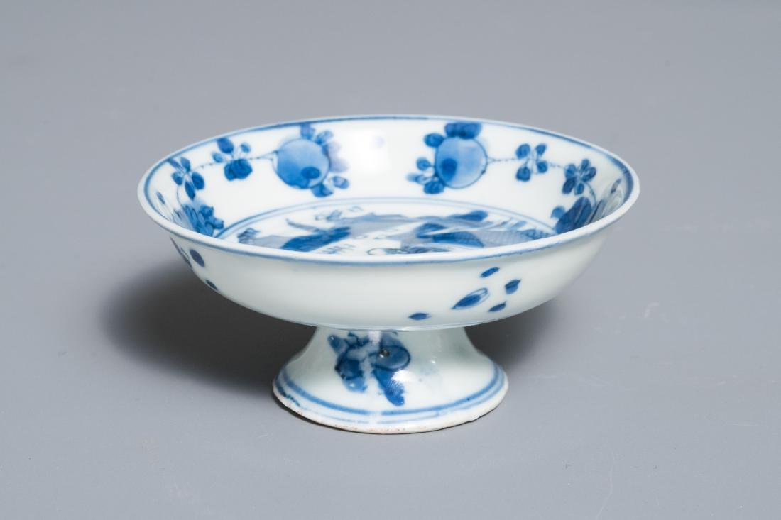 A small Chinese blue and white footed saucer dish,