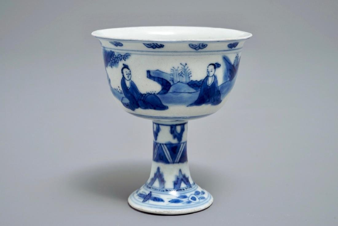 A Chinese blue and white stem cup, Chongzhen